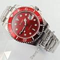 40 мм блигер красный циферблат сапфир автоматический стальной ремешок Мужские наручные часы 2779