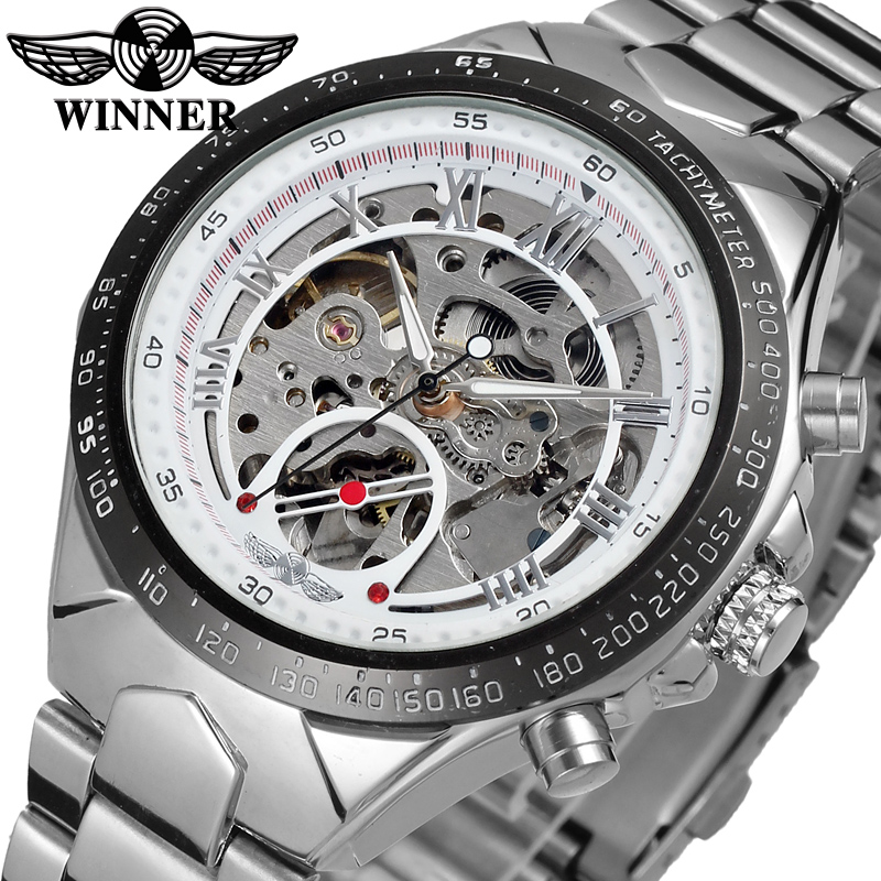 Winner New Number Sport Design Bezel Silver Watch Mens Watches Top Brand Luxury Montre Homme Clock Men Automatic Skeleton Watch winner 2016 new series gear bezel fashion casual design full gold watch men top brand luxury automatic watch clock men montre