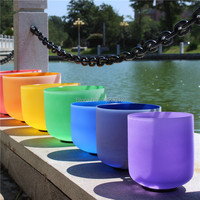 Chakra Tuned Set Of 7 Frosted Quartz Crystal Singing Bowls 8 14 With Color Coating Inside