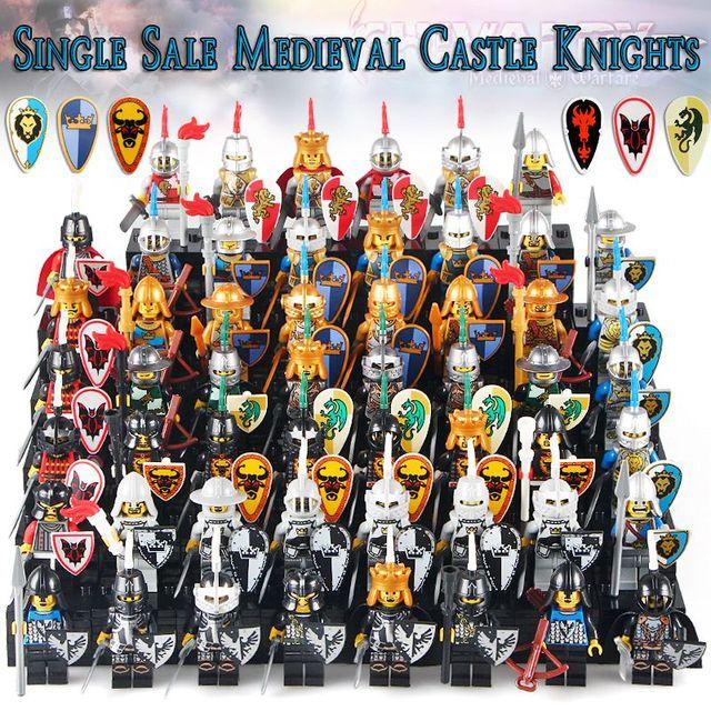 Single Sale 2019 Latest Medieval Castle White Crown Shadow Blue King Knight Heavy Shield Building Blocks Best Children Toys