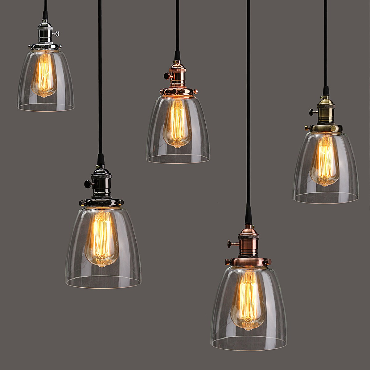 E27 Retro Vintage Industrial Pendant Lamp Glass Cover 2M Cord Coffee Bar Hanging Lighting Lamp Bowl Shade Fixture