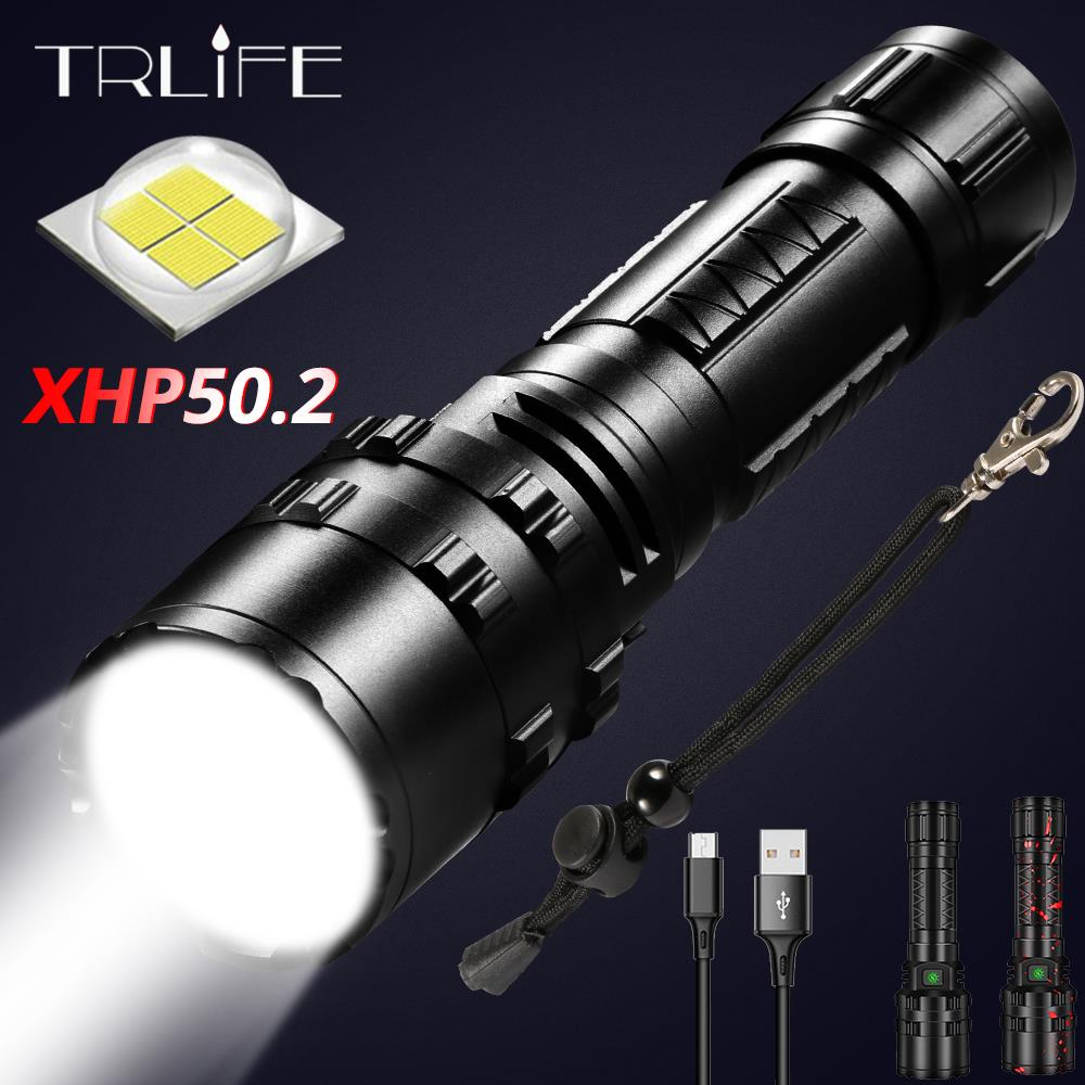 100% Xlamp Xhp50.2 Most Powerful Led <font><b>Flashlight</b></font> Rechargeable Torch Usb <font><b>Flashlights</b></font> <font><b>18650</b></font> or 26650 Best camping,fishing,outdoor image
