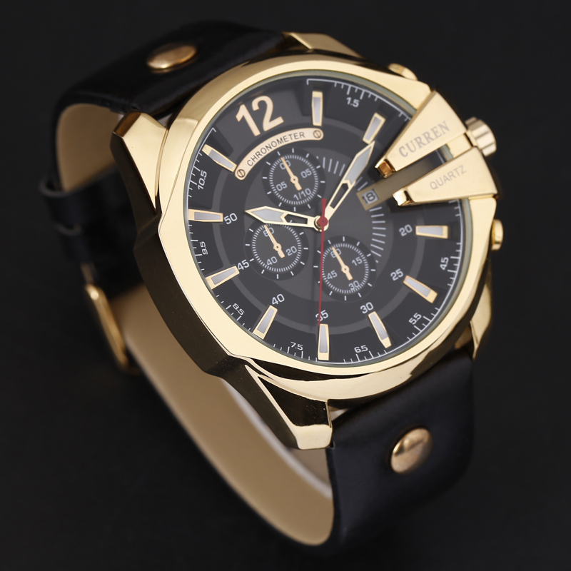 Curren 8176 Men Watches Top Brand Luxury Gold Male Watch Fashion Leather Strap Outdoor Casual Sport Curren 8176 Men Watches Top Brand Luxury Gold Male Watch Fashion Leather Strap Outdoor Casual Sport Wristwatch With Big Dial