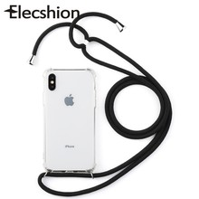 Cell Phone Lanyard Strap Case For iPhone 7 8 Plus Four-Corner Shockproof Phone Neck Strap Necklace Soft TPU Mobile Phone Case(China)