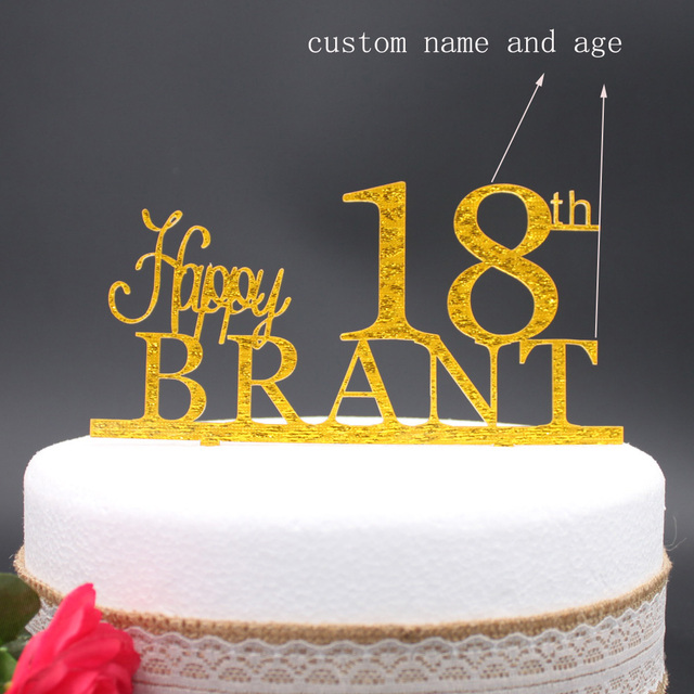 Free Shipping Personalized Acrylic Happy Birthday Cake Topper