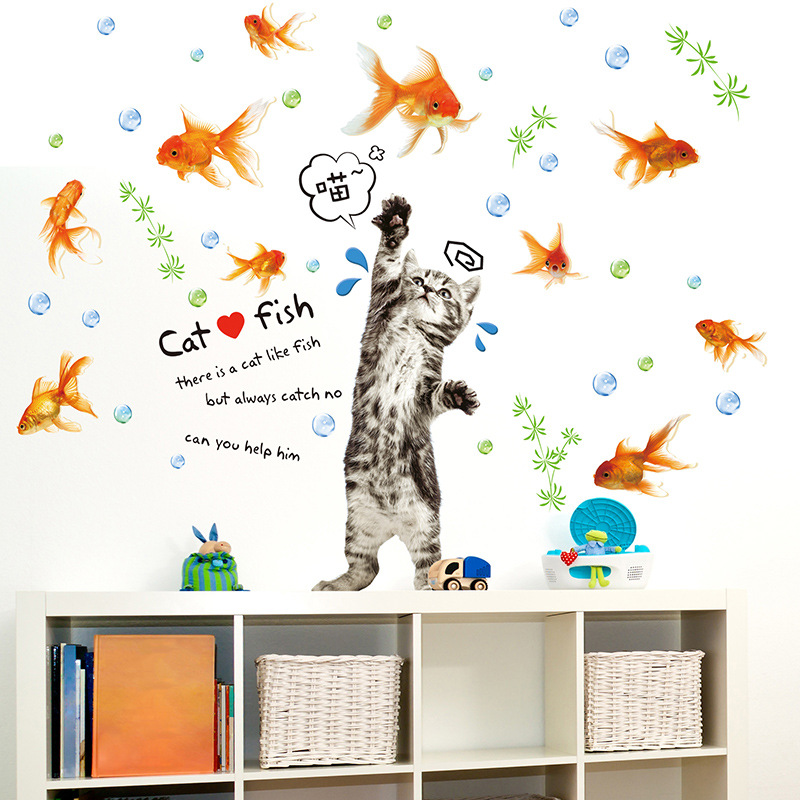 New Cat Catch Fish Cartoon Stickers Vinyl Wall Decals Decals Stickers for Kids Room Stickers Home Decor