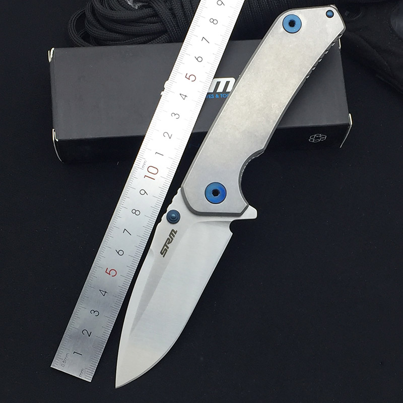 SRM 9008 12C27 Balde 420 Stainless Steel Handle High Hardness Ball Bearing Flipper Outdoor Survival Hunting Utility EDC Knives