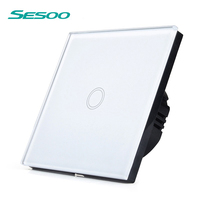 SESOO Touch Switch 1 Gang 1 Way Wall Switch Light Switch Crystal Glass Switch Panel Can