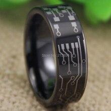 Precio barato Envío Gratis EE.UU. REINO UNIDO CANADÁ RUSIA Venta Caliente Diseño de PLACA de CIRCUITO de 8 MM Tubo Negro Señor de Los Hombres del Tungsteno de la Boda anillo