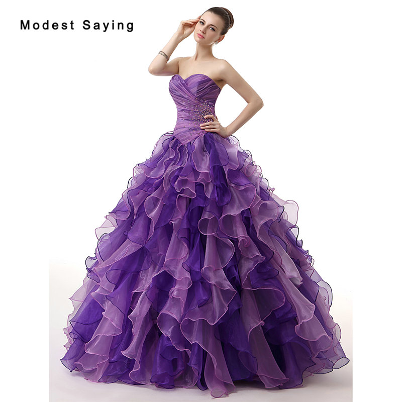 Purple Ball Gown Sweetheart Beads Pleat Quinceanera Dresses 2017 with Ruffled Skirt Girl Formal Party Prom Gowns vestido 15 anos