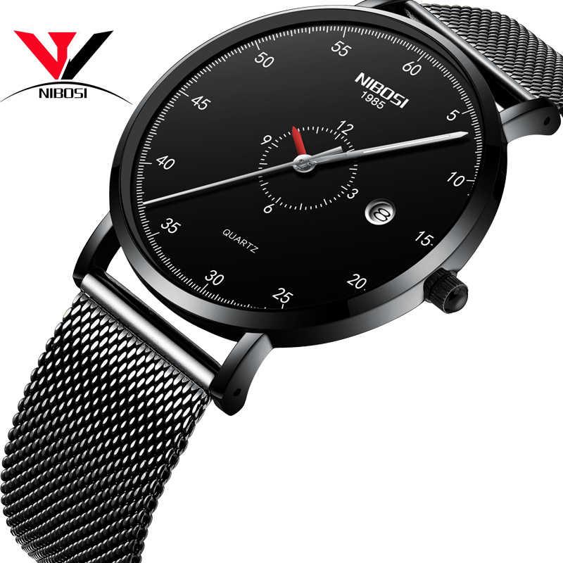 Relojes NIBOSI para hombre relojes finos de lujo 2019 para hombre relojes de pulsera negros impermeables para hombre