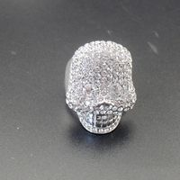 Skull Stretch Ring Full Rhinestones Halloween Jewelry Gift For Women Girls Bling White Gold Plated Drop