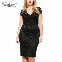 Nemidor 2016 Women Sexy V Neck Short Sleeve Lace Retro Dress Elegant Stretchy Plus Size Party