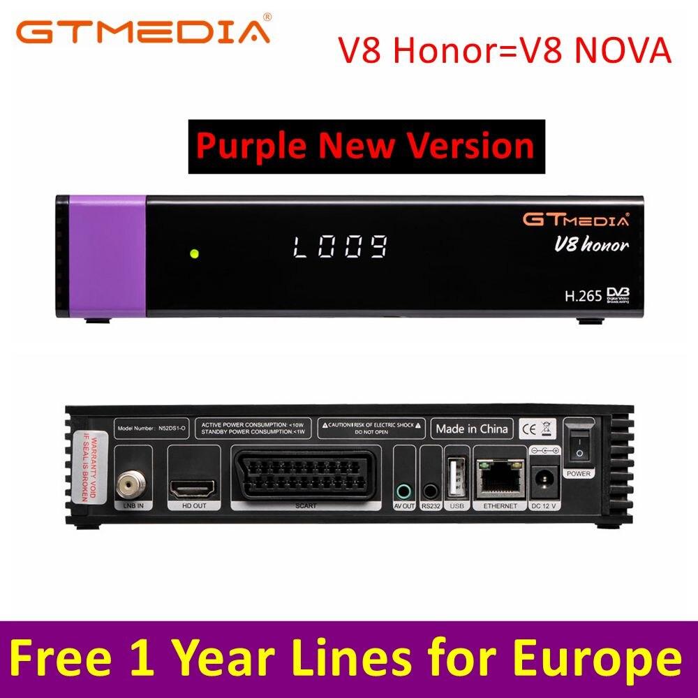 Récepteur Satellite V8 Honor Gtmedia V8 NOVA HD 1080 P Europe clins pour 1 an antenne Wifi Dongle construite en espagne récepteur PK DVB-T2