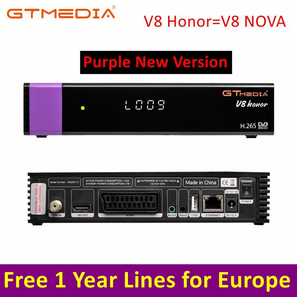 V8 Honor Satellite Receiver Gtmedia V8 NOVA HD 1080P Europe Clines For 1 Year Spain Built Wifi Dongle Antenna PK DVB-T2 Receptor