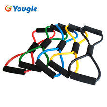 YOUGLE 35cm Portable Yoga Tube 8 Type High Quality Rubber Latex Muscle Training Resistance Band Elastic Pull Rope Gym Fitness(China)
