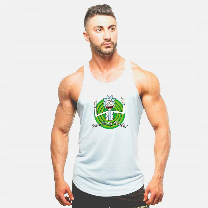 Men New Fashion Cartoon   Tank   vest rick and morty worlds men   Tank     Tops   bodybuilding Fitness Sleeveless Shirt funny Cartoon vest