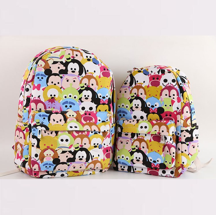 tsum Mickey Minnie Double canvas bag schoolbag Children girl boy Casual 20150727