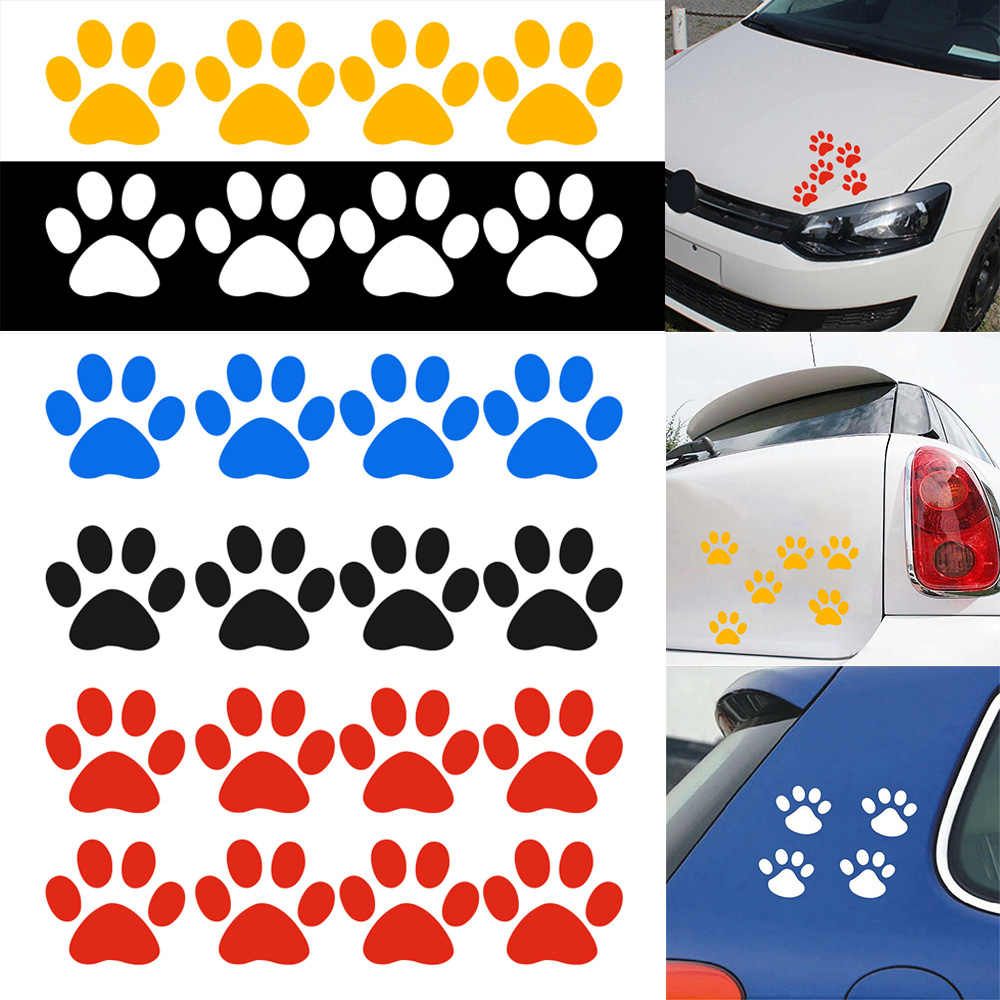 1PC Animale Bello del Gatto Paw Print Divertente Della Decalcomania Del Vinile Auto Moto del corpo Decal Sticker Nero/Argento 4*4.5 CENTIMETRI Adesivo