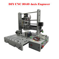 ERU FREE TAX CNC Router Mini Engraving Machine DIY CNC 3040 4axis Wood Router PCB Drilling