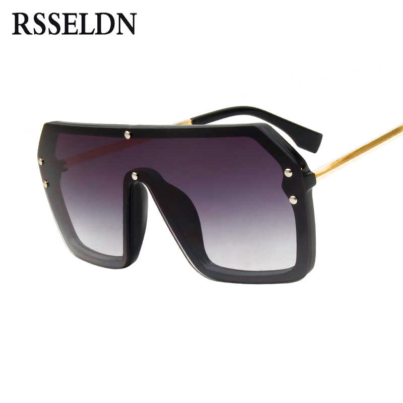 704ed8fb68 ... RSSELDN Red Black Oversized Square Sunglasses Men New 2019 One Piece  Lens Big Frame Sun glasses ...
