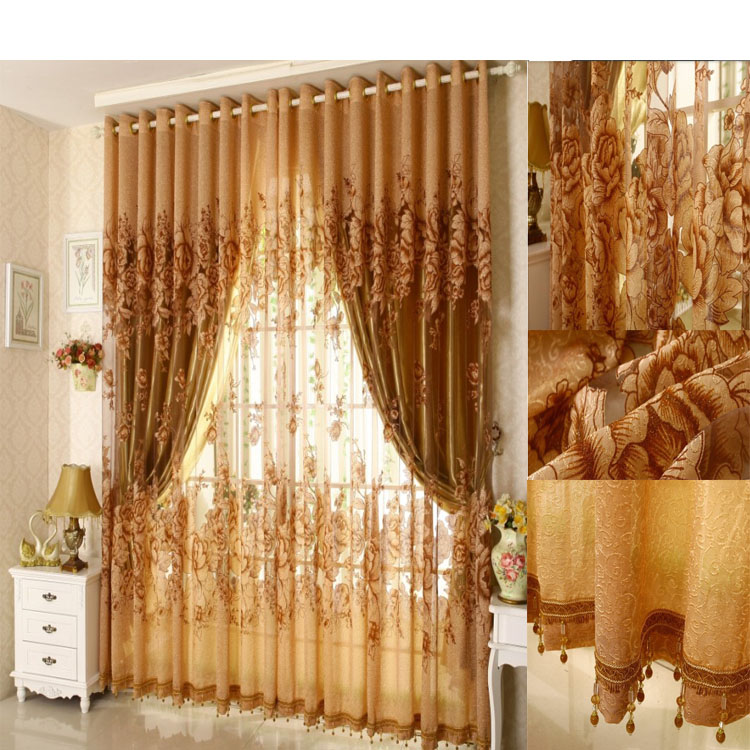 Curtains For Bedroom Living Room Beaded Curtain 3pcs Lot Jacquard