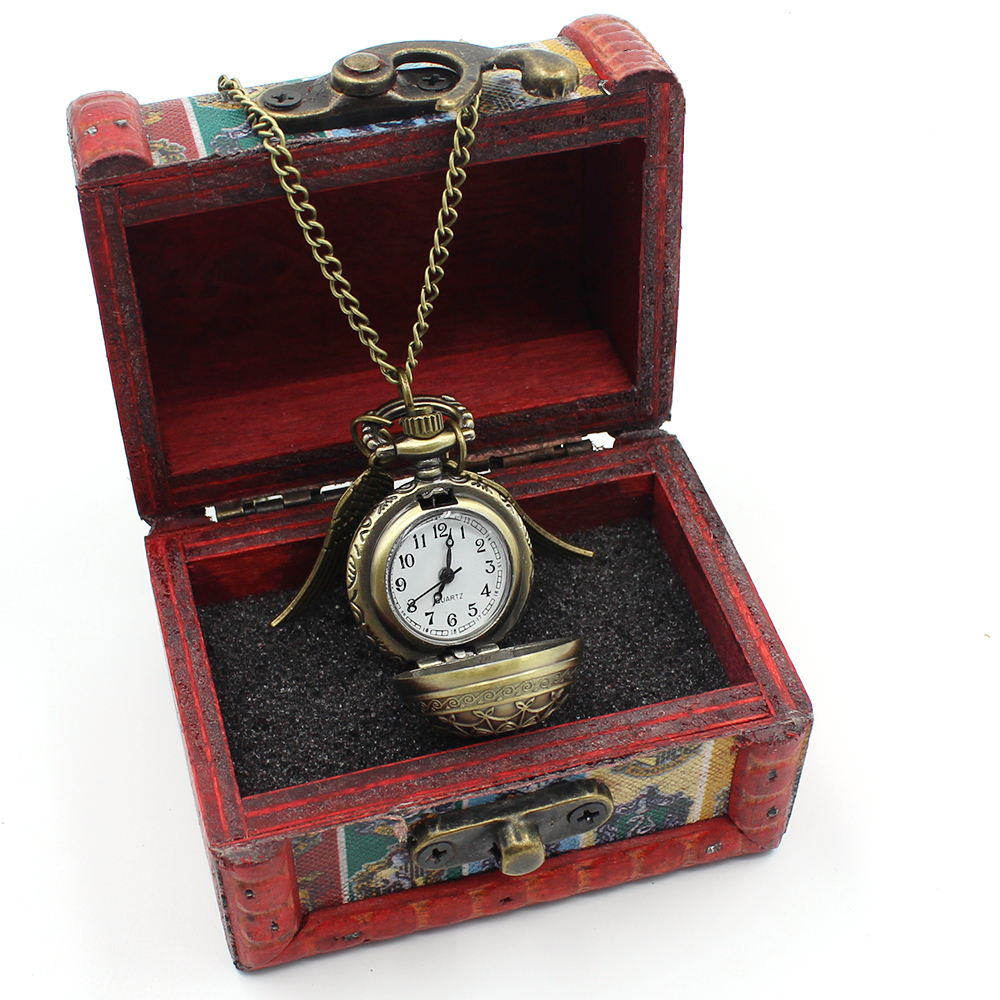 Harri Potter Golden Snitch Symbol After all this Time Pocket Watch Pendant Bronze Metal Necklace Chain Wooden Box Collection Hot