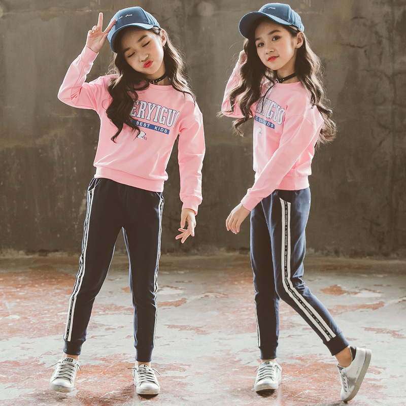 Sports Suit for Girls Teenagers Letter Print Pink O-neck Full Sleeve Girls Clothes Children Clothing Set Cotton Kids Outfits stylish scoop neck half sleeve argyle print women s romper