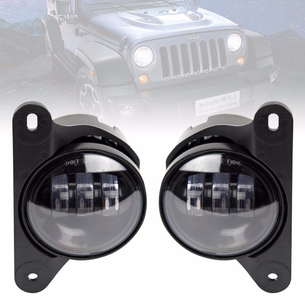 Pair 4 Inch Led Fog Light Projector Driving Light  For 10th Anniversary Front Bumper of Jeep Wrangler Jk 07+ Front Bumper Lights 4 30w front bumper led fog light for jeep wrangler 2 door jk 07 15 for 2005chrysler 300 led headlamp