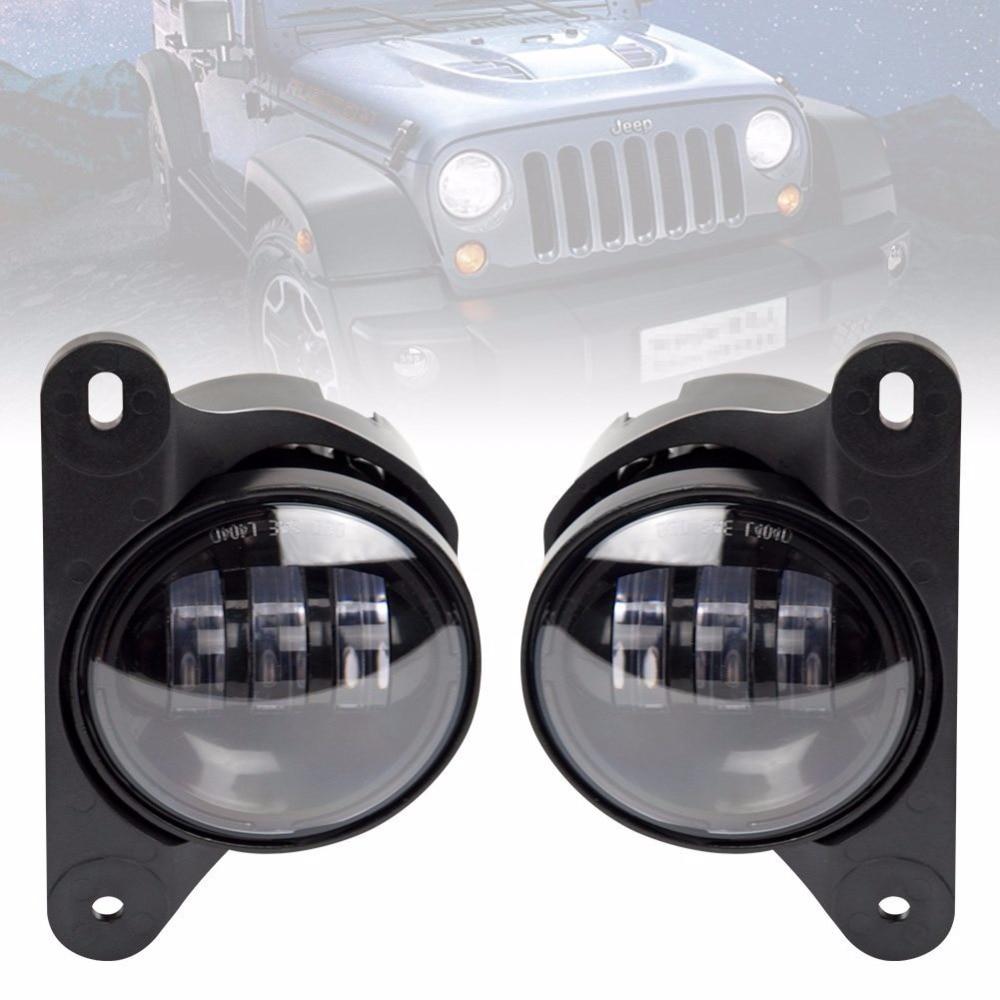 Пара 4 дюйма светодиодные Противотуманные фары проектор дальнего света, для 10-летия передний бампер Jeep Вранглер JK 07+ передний бампер фары