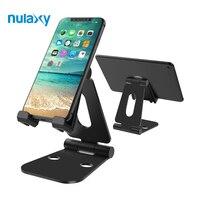 Nulaxy Aluminium Alloy Telefon Dual Scharnier Einstellbare Handy Stehen Faltbare Schreibtisch Halter Ständer Für iPad Tablette Montieren