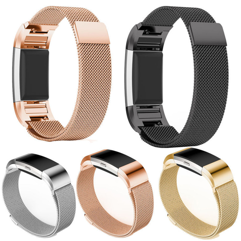 Milanese Magnet Strap For Fitbit Charge 3 For Charge 2 Fitness Band Stainless Steel Sport Watch Band Replacement Metal Bracelet