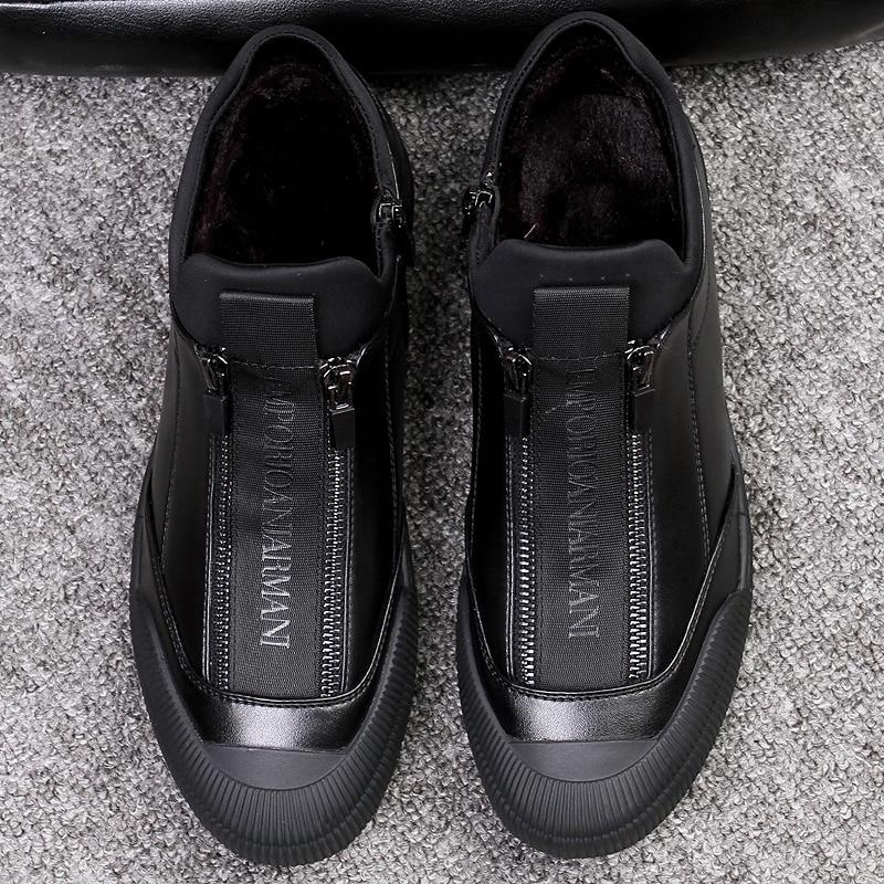 Hiver fourrure cuir baskets hommes chaussures de luxe hommes Designer noir chaussure 2018 hommes mode chaussure Zipper appartements sans lacet espadrilles décontractées