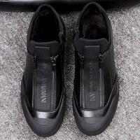 Winter Fur Leather Sneakers Mens Luxury Shoes Men Designer Black Shoe 2018 Men Fashion Shoe Zipper Flats Slip On Casual Sneakers
