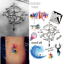 W09 1 Piece Watercolor Travel World Map Non-toxic Tattoo With Day And Night Triangle,City , Surfing, Puzzle Designs Tattoos