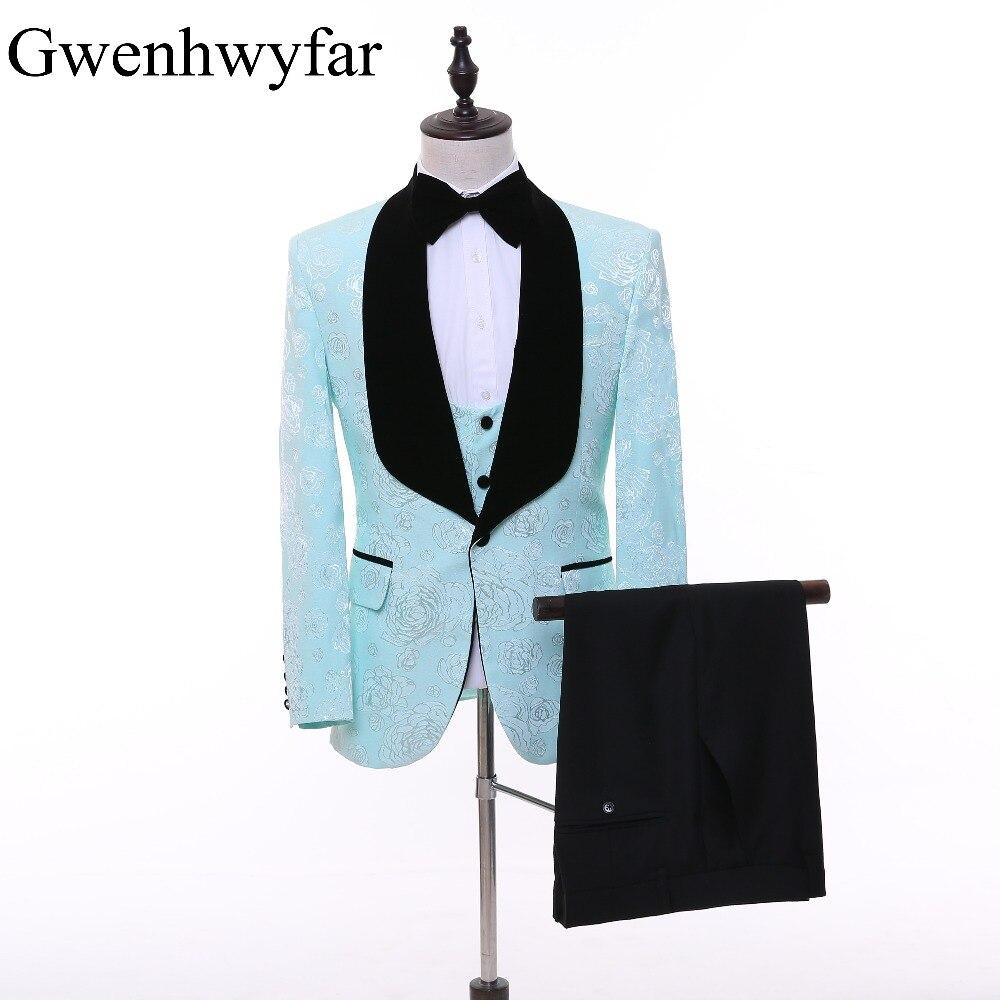 2017 Custom Made Stylish Froal Pattern Men Suits Black Shawl Lapel ...