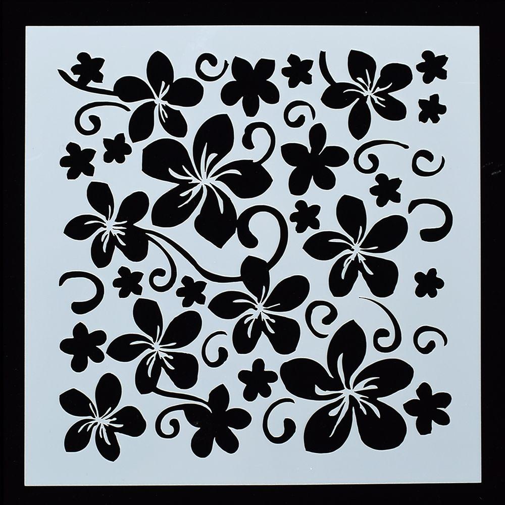 Flower Leaf Pattern Wall Sticker Painting Stencil Pattern Home Art Decor