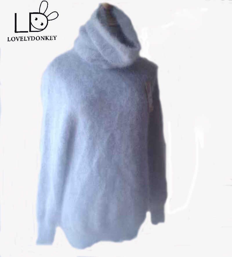 LOVELYDONKEY водолазка 50 см кашемировый свитер женский длинный кашемировый пуловер вязаный воротник из чистой норки Бесплатная доставка m279