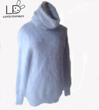 LOVELYDONKEY Turtleneck50CM  cashmere sweater women long cashmere pullovers knitted pure mink Heap collar free shippingM279