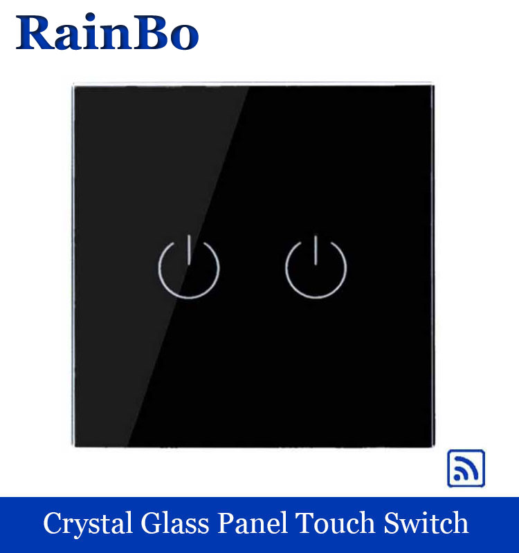 rainbo Crystal Glass Panel Switch EU Wall Switch  Remote Touch Switch Screen Wall Light Switches 2gang1way for LED lamp A1923B remote control wall switch eu standard touch black crystal glass panel 3 gang 1 way with led indicator switches electrical