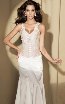 free shipping off white bridal brocade straps lace up corset 3s3071 corset wedding dresses