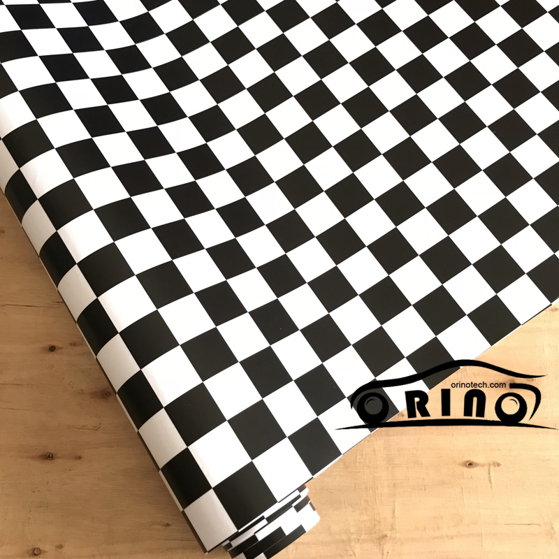 ORINO Adhesive Black White Race Checkered Flag Sticker Vinyl Wrap Car Bike Motorbike Body Wrapping Decal With Air Bubble Free