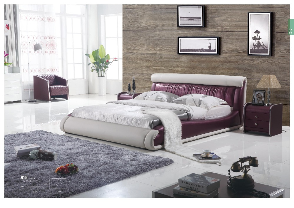 European Style Bedroom Furniture Wooden Genuine Leather King Bed