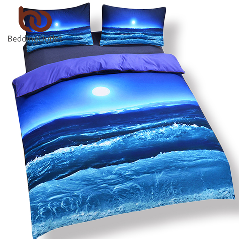 BeddingOutlet Moon And Ocean Duvet Cover Set Bed Spread Cool 3D Print Bedlinen Soft Blue Bedding Set 3pcs Twin Full Queen King
