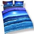 Beddingoutlet vendedor caliente de la luna y el océano extensión de la cama fresca 3d de impresión ropa de cama Suave ropa de Cama Conjunto Azul 3 unids O 4 unids Reina, Rey Gemelo