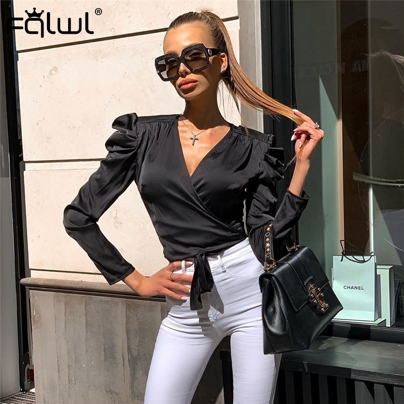 FQLWL Pleated Bandage <font><b>Sexy</b></font> <font><b>Blouse</b></font> Women Crop Top <font><b>Deep</b></font> <font><b>V</b></font> Neck Black White Puff Sleeve Summer <font><b>Blouse</b></font> Shirt Female Ladies Blusas image