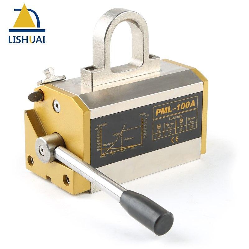 LISHUAI 100 kg (220Lbs) Permanente Sollevatore Magnetico/Magnete di Sollevamento Permanente per Lamiera di Acciaio con Certificato CE PML-100
