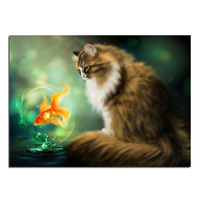 Diamond Embroidery Cat And Golden Fish 40X29 Diy Diamond Square Drill Rhinestone Pasted Crafts Needlework Home