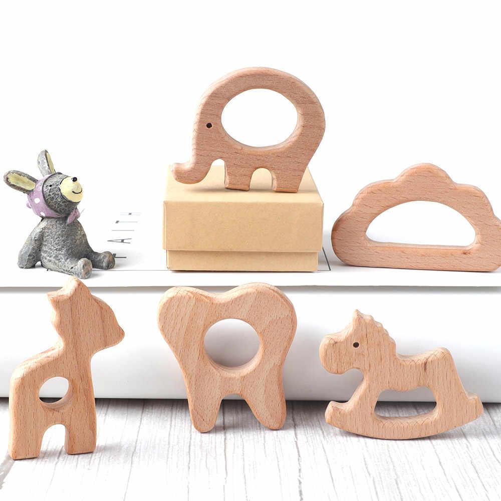 TYRY.HU 1Pc naturalny buk drewniane gryzonie gryzonie zwierzęta kształt słoń Fox Turtle drewniane zabawki akcesoria i prezenty dla niemowląt