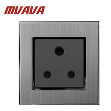 MVAVA 15A/16A UK Socket Luxury Brushed Silver Metal South Africa Wall Satin socket FREE SHIPPING